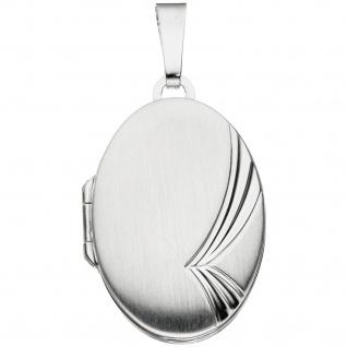 Medaillon oval für 2 Fotos 925 Sterling Silber mattiert Anhänger zum Öffnen