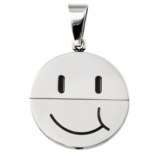 Anhänger Gesicht (lachend oder traurig) Edelstahl schwarze Lackeinlage - Vorschau 3