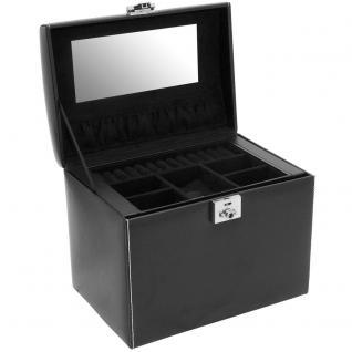 Friedrich Lederwaren Schmuckkoffer Schmuckkasten LONDON schwarz Uhrenfach - Vorschau 5