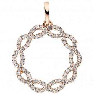 Anhänger 585 Gold Rotgold 90 Diamanten Brillanten 0, 41ct.