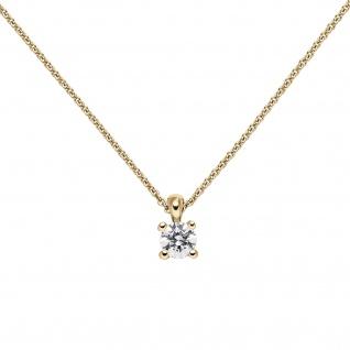 Collier Kette mit Anhänger 585 Gold Gelbgold 1 Diamant Brillant 0, 50 ct. 45 cm - Vorschau 3