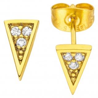 Ohrstecker Dreieck spitz Edelstahl goldfarben beschichtet 6 Kristalle