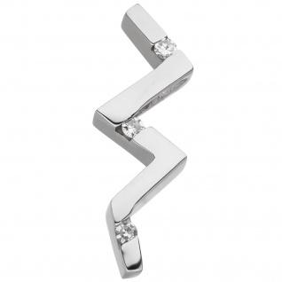 Anhänger 925 Sterling Silber 3 Diamanten Brillanten