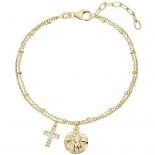 Armband Kreuz Christopherus 925 Sterling Silber gold vergoldet 11 Zirkonia 19 cm