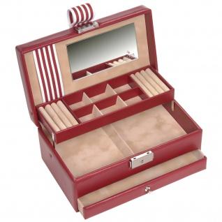 Sacher Schmuckkoffer Schmuckkasten YOUNG rot beige Schloss Spiegel Schublade