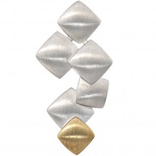 Anhänger 585 Gold Gelbgold mit 925 Sterling Silber bicolor matt Goldanhänger