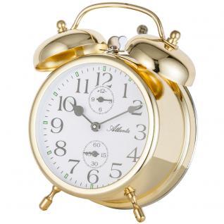 Atlanta 1058/9 Mechanischer Wecker Glockenwecker Doppelglockenwecker golden - Vorschau 2