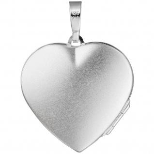 Medaillon Herz Flügel Engelsflügel 925 Silber matt Foto Anhänger zum Öffnen - Vorschau 2