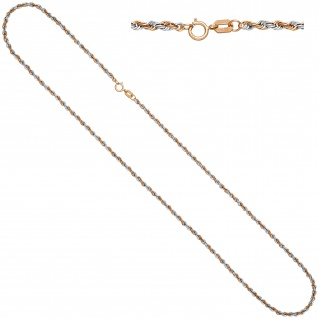 Kordelkette 333 Rotgold bicolor 42 cm Gold Kette Halskette Goldkette Federring