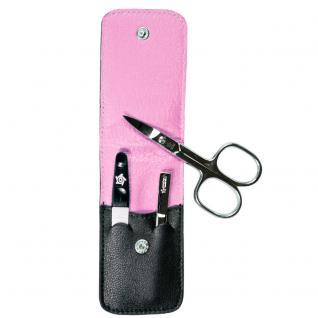 Pfeilring Maniküretui, Nappaleder schwarz, Futter pink, 3-teilige Bestückung