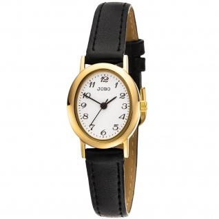 JOBO Damen Armbanduhr Quarz Analog Edelstahl vergoldet Lederband Damenuhr oval