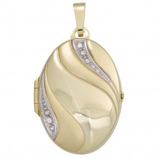 Medaillon oval 333 Gold Gelbgold bicolor mattiert 2 Zirkonia Anhänger zum Öffnen - Vorschau 4