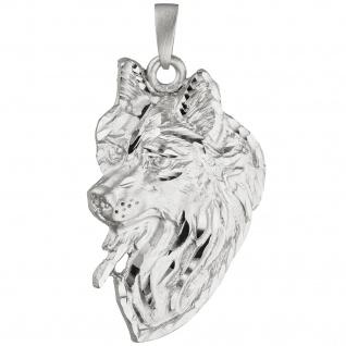 Anhänger Wolf 925 Sterling Silber teil matt Silberanhänger Wolfanhänger