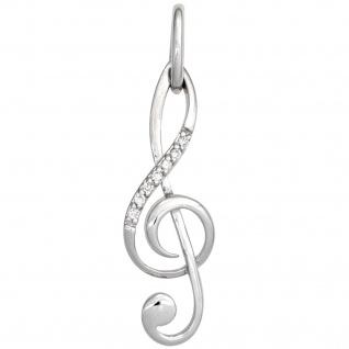 Anhänger Notenschlüssel Musik 585 Gold Weißgold 7 Diamanten Brillanten