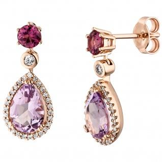 Ohrhänger 585 Rotgold 2 Amethyste 2 Rhodolithe 56 Diamanten Brillanten