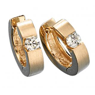 Creolen rund 585 Gold Gelbgold matt 2 Diamanten Brillanten 0, 30ct. Ohrringe