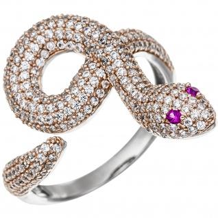 Damen Ring Schlange 925 Sterling Silber bicolor vergoldet 285 Zirkonia