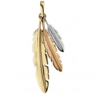 Anhänger Federn 333 Gold tricolor dreifarbig Goldanhänger