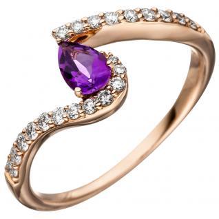 Damen Ring 585 Rotgold 1 Amethyst lila violett 21 Diamanten Brillanten