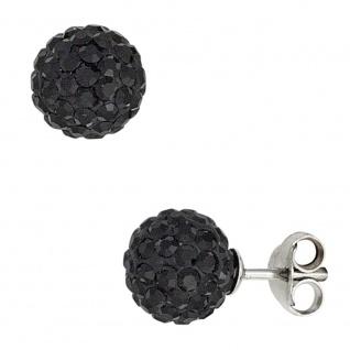 Ohrstecker Kugel 925 Silber mit Kristallen schwarz Ohrringe