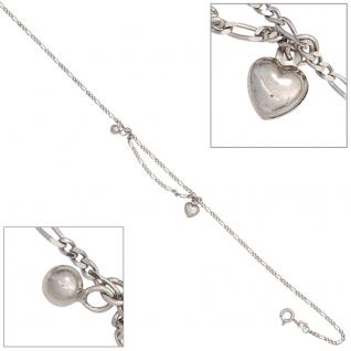 Fußkettchen Fußkette Herz / Kugel 925 Sterling Silber rhodiniert 26 cm Federring