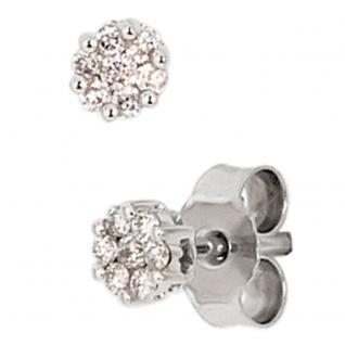Ohrstecker 585 Gold Weißgold 14 Diamanten Brillanten 0, 15ct. Ohrringe