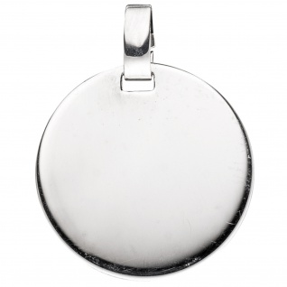 Anhänger Gravur Gravurplatte rund 925 Sterling Silber rhodiniert
