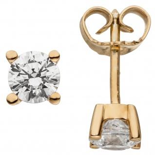 Ohrstecker 585 Gold Rotgold 2 Diamanten Brillanten 1, 00 ct. Ohrringe