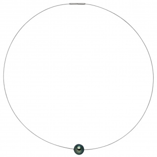 Collier Kette Halskette Edelstahl mit 1 Tahiti Perle 42 cm