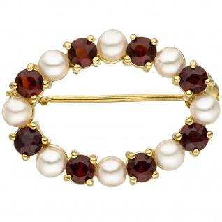 Brosche 375 Gold Gelbgold 8 Akoya Perlen 8 Granate rot Granatbrosche