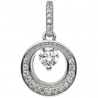 Anhänger 925 Sterling Silber 23 Zirkonia Silberanhänger rund
