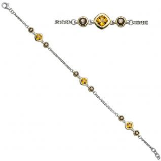 Armband 925 Sterling Silber bicolor vergoldet 6 Rauchquarze 3 Citrine 20 cm