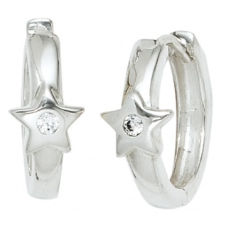 92ed894f8b70 Kinder Creolen Stern Sterne 925 Silber 2 Zirkonia Ohrringe Kinderohrrine