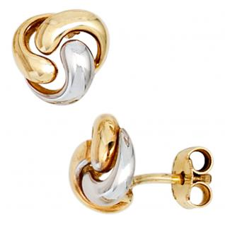 Ohrstecker Knoten verschlungen 333 Gold Gelbgold bicolor Ohrringe Goldohrstecker