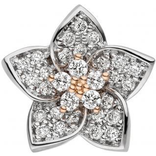 Anhänger Blume 585 Gold Rotgold Weißgold bicolor 30 Diamanten Brillanten - Vorschau