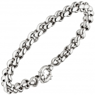 Erbsarmband 585 Gold Weißgold 19 cm Armband Weißgoldarmband