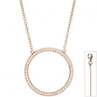 Collier Halskette 925 Silber rotgold vergoldet mit Zirkonia 45 cm Kette