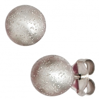Ohrstecker Kugel 925 Silber mattiert mit Glitzereffekt Ohrringe Kugelohrstecker