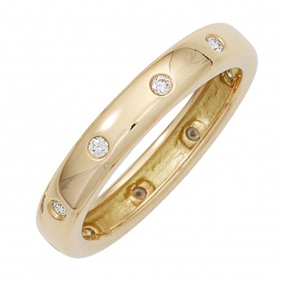 Damen Ring 585 Gold Gelbgold 10 Diamanten Brillanten 0, 15ct. Goldring