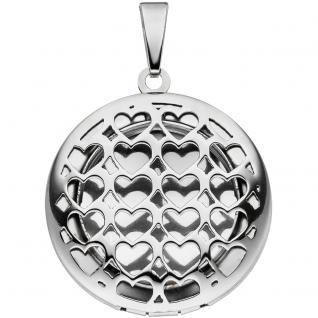 Medaillon mit Herz-Muster aus Edelstahl für 1 Foto Anhänger zum Öffnen