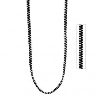 Kette aus Baumwolle schwarz mit Edelstahl kombiniert 75 cm Halskette