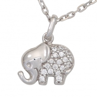 Kinder Anhänger Elefant 925 Sterling Silber mit Zirkonia Kinderanhänger - Vorschau 2