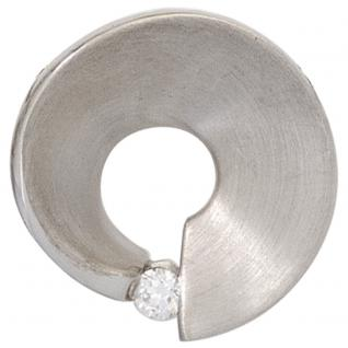 Anhänger 585 Gold Weißgold matt 1 Diamant Brillant 0, 07ct. Weißgoldanhänger