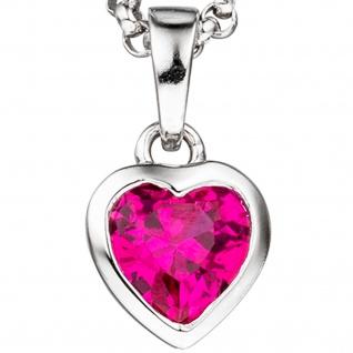 Kinder Anhänger Herz 925 Silber 1 Zirkonia pink Herzanhänger Kinderanhänger - Vorschau 2
