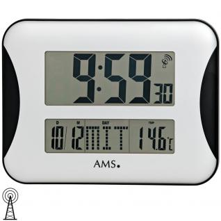 AMS 5894 Wanduhr Tischuhr Funk digital mit Datum Thermometer Weckfunktion Wecker