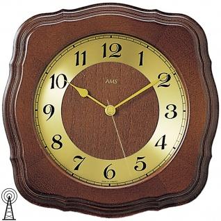AMS 5862/1 Wanduhr Funk Funkwanduhr analog golden Holz massiv nussbaum farben