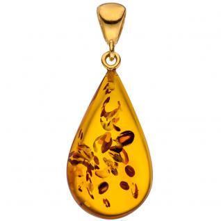 Anhänger Tropfen 925 Silber gold vergoldet 1 Bernstein Bernsteinanhänger
