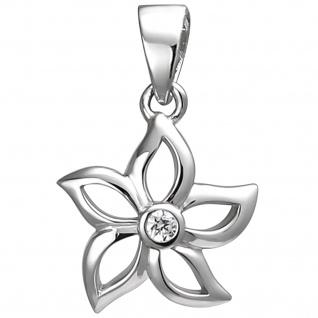 Anhänger Blume 925 Sterling Silber 1 Zirkonia Silberanhänger