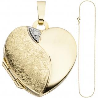 Medaillon Herz Anhänger zum Öffnen für 2 Fotos 333 Gold mit Kette 50 cm - Vorschau 2