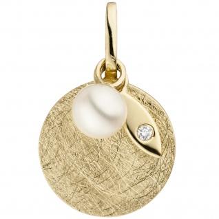 Anhänger 585 Gold Gelbgold eismatt 1 Süßwasser Perle 1 Diamant Brillant
